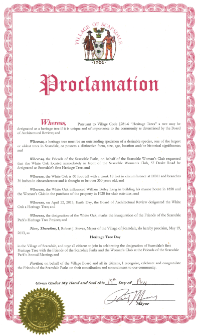 Heritage Tree Proclamation