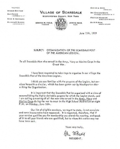 Letter Establishing American Legion Post 52